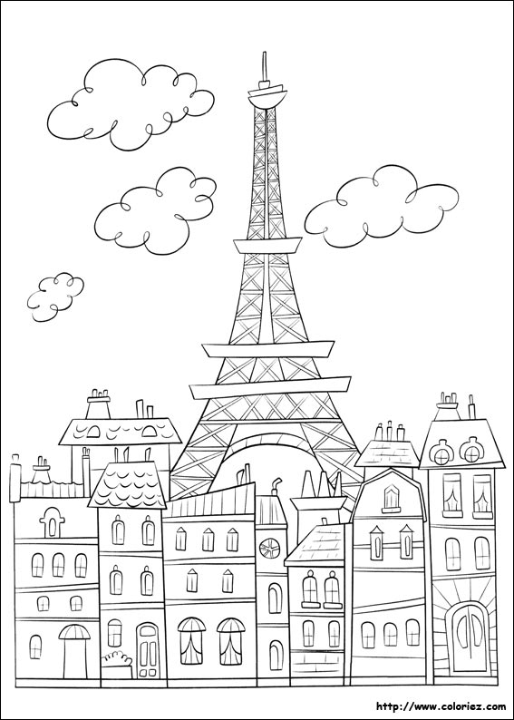 Coloriage Paris Et La Tour Effeil