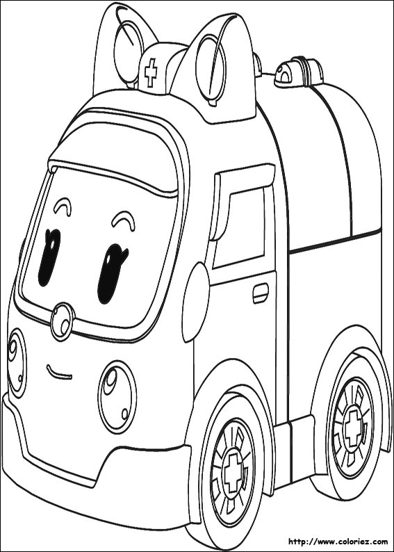 Coloriage ambulance ambre - Coloriage robot car polly ...