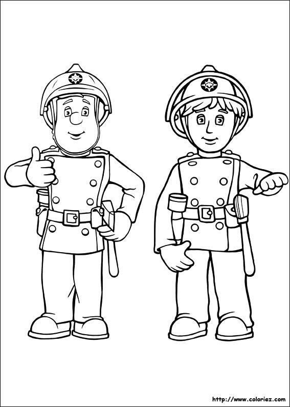 Coloriage coloriage de sam le pompier qui fait des signes - Coloriage de sam le pompier ...