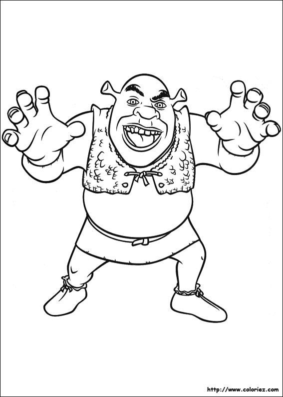 Coloriage Coloriage De Shrek L Ogre Terrifiant