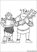 Coloriages de Shrek et Fiona ogres guerriers