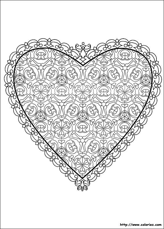 Coloriage Coeur De St Valentin.Coloriage Coeur De La St Valentin