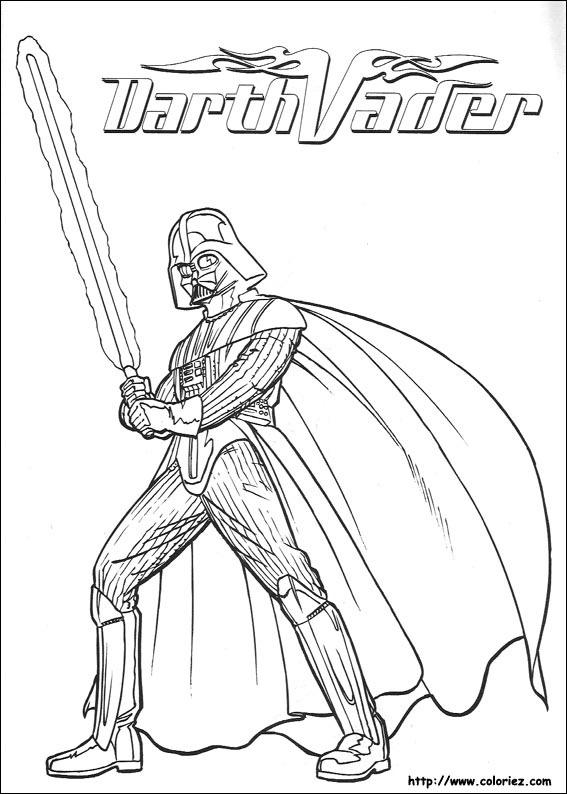 Coloriage Star Wars Dark Vador Et Son Sabre Laser