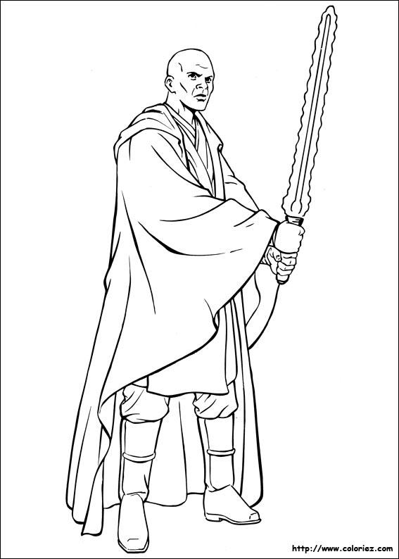 Coloriage Star Wars Mace Windu Le Chef Jedi