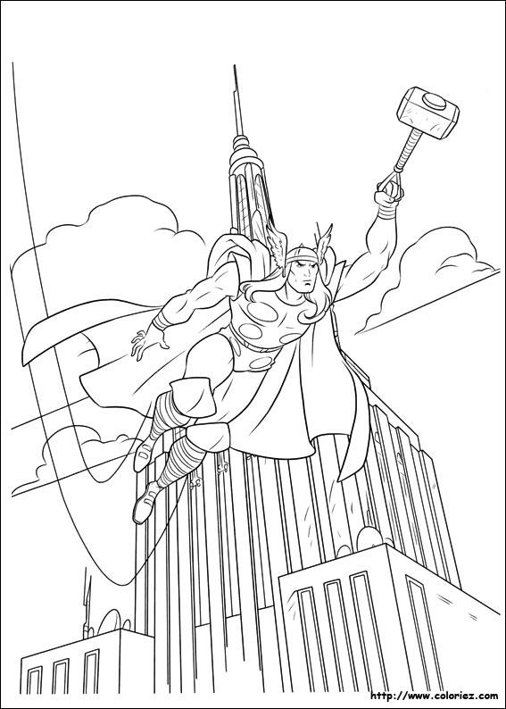 Coloriage Thor Au Dessus De Manhattan