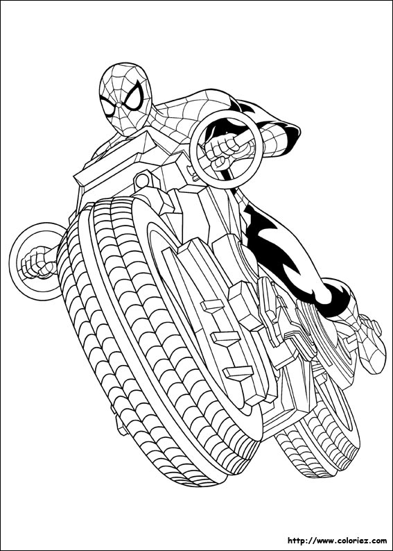 Coloriage Spider Man A Moto