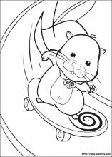 Coloriage de Squiggles en skateboard